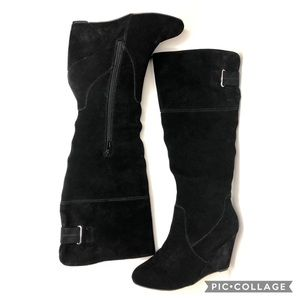 Nine West tall black suede wedge boots
